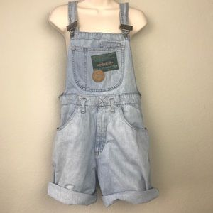 VTG 90s Squash Lightwash Denim Overall Shorts